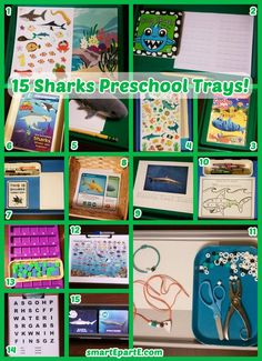 Whether you are into Shark Week, hockey, or these great ocean creatures, you might enjoy ideas among our 15 Sharks Preschool Trays! Educational Activities For Kids, Alphabet Activities, Toddler Classroom, Preschool Classroom, Underwater Creatures, Ocean Creatures, Tot Trays, Classroom Tools, Learning Letters