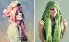 Coloured Hair #green #pink #soft