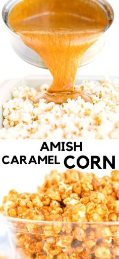 Amish Caramel Corn - Dry roasted peanuts along with perfectly coated caramel popcorn, the perfect sweet and salty snack! Caramel Corn Recipes, Popcorn Recipes, Candy Recipes, Sweet Recipes, Dutch Recipes, Desserts Caramel, Caramel Treats, Flavored Popcorn, Appetizer Recipes