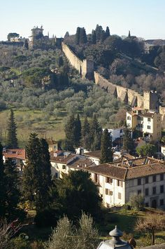 City Walls - 1284-1328, Fort Belvedere at top - Florence, Italy
