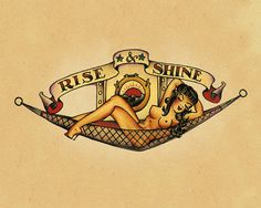 Rise and Shine Pin up Sailor Jerry Tattoo  by FoxyNFoxyVintage