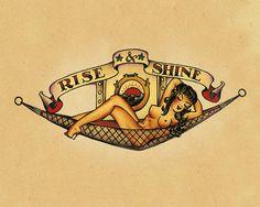 Aufstieg und Shine Pin up Sailor Jerry Tattoo von FoxyNFoxyVintage