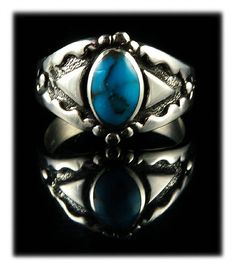 Bisbee Turquoise Mens Ring made by John Hartman of Durango Silver Company - Durango, Colorado USA