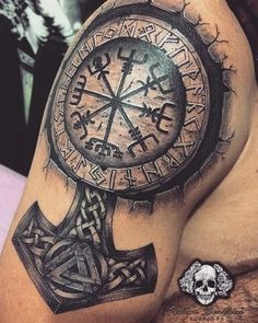Slavic and Scandinavian tattoos sketches photos – tattoo sleeve men Viking Compass Tattoo, Viking Warrior Tattoos, Viking Tattoos For Men, Viking Tattoo Symbol, Viking Tattoo Sleeve, Pagan Tattoo, Rune Tattoo, Norse Tattoo, Viking Tattoo Design