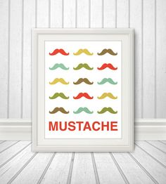 Mustache Print Poster, Mid Century Art, Quote Print, Mustache Art, Retro - Mustache Party - 11x14