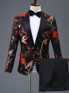 PYJTRL New Design Mens Stylish Embroidery Royal Blue Green Red Floral Pattern Suits Stage Singer Wedding Groom Tuxedo Costume Prom Suits For Men, Dress Suits For Men, Suits For Boys, Prom Tuxedo, Tuxedo Dress, Tuxedo Suit, Mode Costume, Costume Dress, Men's Suits
