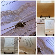 Gorgeous Cappuccino and Lace Seagull Wedding Invitation Suite by Fort Lauderdale Invitations - Visit our website for ordering information or search for us on Etsy @ Milgrim Designs! Fort Lauderdale * Hollywood * Miami * Palm Beaches * We Ship across the USA!