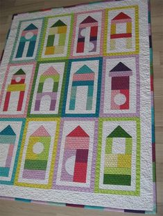 Baby patchwork quilt pattern - Building blocks for your babies- an easy geometric and colorful quilt design