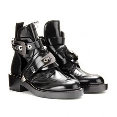 Balenciaga Derby Leather Ankle Boots With Cut-Out Detail ($1,275) ❤ liked on Polyvore featuring shoes, boots, ankle booties, ankle boots, noir, cutout bootie, leather boots, chukka boots, buckle booties and round chimney cap