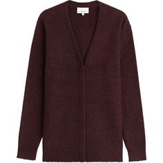 3.1 Phillip Lim Knit Cardigan ($205) ❤ liked on Polyvore featuring tops, cardigans, red, brown cardigan, v neck knit top, oversized knit cardigan, v neck cardigan and knit tops