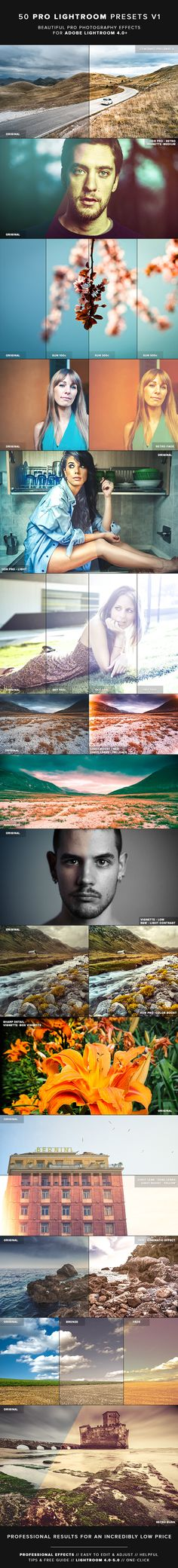 50 Professional Lightroom Effects.  http://graphicriver.net/item/50-pro-lightroom-presets-v1/5615802?WT.ac=portfolio&WT.seg_1=portfolio&WT.z_author=MikeMoloney&ref=MikeMoloney