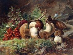 Hans Zatzka Still life with mushrooms.