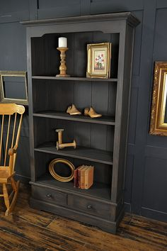 This rustic bookcase has been painted in Vintro Midnight and distressed back to . This rustic bookcase has been painted in Vintro Midnight and distressed back to the rich wood tones Shabby Chic Bookcase, Rustic Bookcase, Shabby Chic Furniture, Rustic Furniture, Vintage Furniture, Furniture Ideas, Gray Furniture, Repurposed Furniture, Red Bookcase