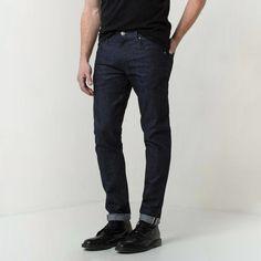 Skinny Slim Raw Jeans In Selvedge Indigo Grey