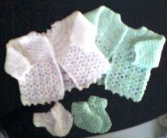 Crochet Pattern Sweaters Picot-and-Lace set-free pattern Crochet Baby Sweaters, Crochet Baby Cardigan, Crochet Baby Clothes, Baby Knitting, Preemie Clothes, Crochet Bebe, Crochet Girls, Love Crochet, Crochet For Kids