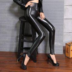 418e254003c50b BIVIGAOS Fall Winter Women's Fleece Black Leather Pants Female PU Leggings  Slim Skinny High Waist PU Leggings Trousers For Women