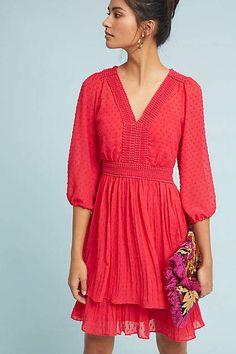 Rue Minetta Red Tiered Dress #Anthropologie #ad