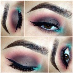 Pop of color in the tear duct. Sonia Kashuk matte palette for the lid & crease