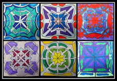 5th grade. radial symmetry. analogous colors. marker, colored pencil.