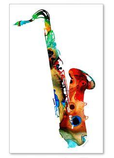 Saxo música arte impresión de pintura colorida banda de Jazz Musical Rock And Roll lona listo 2 colgar arte grande músico Don grandes ilustraciones