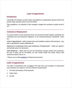 sample appointment letters employee letter template for word doc pdf format