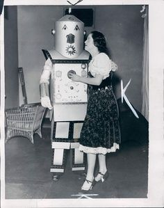 Woman with a Man in a Robot Costume