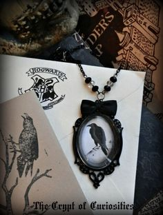 Gothic Antique look raven glass cameo by TheCryptOfCuriositie