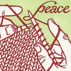knitting peace linocut cards
