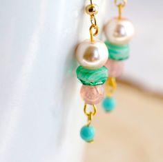 Pink, Cream, Green Dangle Earrings