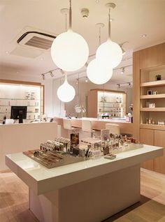 Nulty - Cosmetics á la Carte, London - Beauty Skincare Product Display Feature Globe Pendants