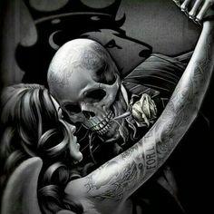Sweet dancing couple, skull dancer