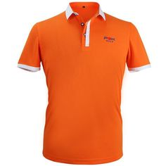 New Golf Apparel Men's Short Sleeved Polo Shirt Summer Breathable Dry Fit Running Sport Shirts (Orange)