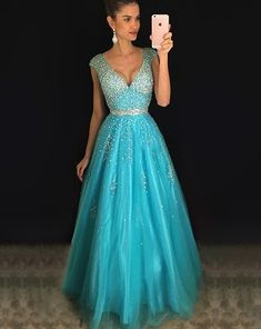Sparkly Beaded Long Tulle Prom Dresses Fashion Open Back Evening Gowns Custom Made Long Graduation Party Dresses Girl's School Dance Dresses Princess Prom Dresses, Ball Gowns Prom, Prom Dresses Online, Homecoming Dresses, Beaded Wedding Gowns, Beaded Prom Dress, Girls Party Dress, Girls Dresses, Party Dresses