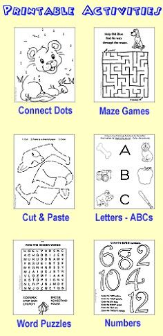 Fun and printable learning activities for kids. Connect the dots, channel mazes, word search puzzles, preschool activities and more!
