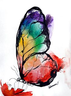 Rainbow Butterfly original watercolor painting. Colorful