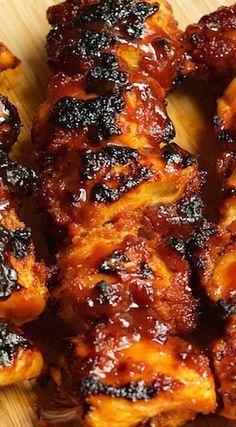 Bourbon Bacon BBQ Chicken Kebabs Recipe More (Grilling Recipes Kabobs) Traeger Recipes, Kabob Recipes, Grilling Recipes, Cooking Recipes, Smoker Recipes, Rib Recipes, Cooking Tips, Chicken Kabobs, Carne Asada