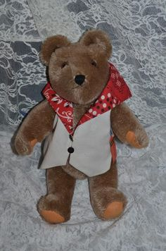Vintage Teddy Bear Reuge Swiss Musical The Teddy Bear's Picnic W/ Tag Works! Wind Up