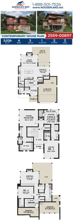 A stunning Contemporary home design, Plan 2559-00897 details 3,026 sq. ft., 4 bedrooms, 3.5 bathrooms, an elevator, a kitchen island, an open floor plan, a media room, and a 2 car garage. #contemporaryhome #twostoryhome #architecture #houseplans #housedesign #homedesign #homedesigns #architecturalplans #newconstruction #floorplans #dreamhome #dreamhouseplans #abhouseplans #besthouseplans #newhome #newhouse #homesweethome #buildingahome #buildahome #residentialplans #residentialhome Best House Plans, Dream House Plans, Contemporary House Plans, Two Story Homes, Flat Roof, House Layouts, Elevator, Open Floor, Car Garage