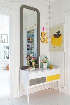 Lady inspirasjonsblogg Jotun male kommode hvit grå og gul