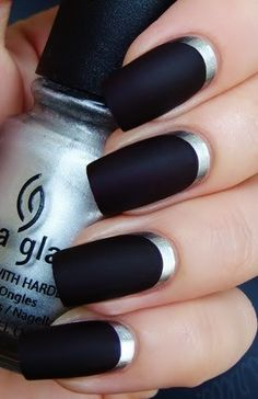 Black and Silver Nail Art.  I love the shiny silver against the matte black!