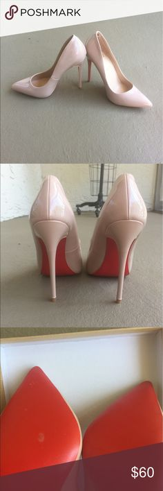 Beige red bottom heels Size 7 and true to size! Never worn before only tried on. Shoes have no stains or damage. When I received the shoes there was a bubble by the heel. Shoes Heels