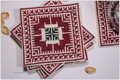 Coasters adorned with Palestinian Embroidery-Home Synchronize Cross Stitch Bookmarks, Cross Stitch Embroidery, Embroidery Patterns, Cross Stitch Designs, Cross Stitch Patterns, Cross Stitches, Couture Cuir, Palestinian Embroidery, Art N Craft