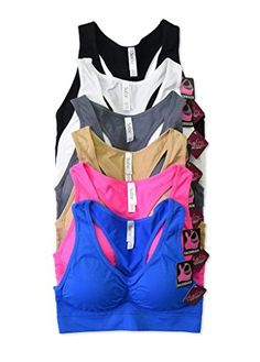 Sofra Womens Seamless Racerback Padded Bras Assorted One Size *** Visit the image link more details.