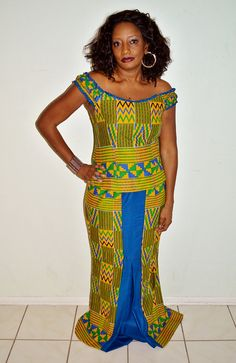 Kente Print With Blue Wooden Long Two Piece by ZabbaDesigns