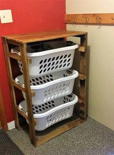 What about laundry if anyone has created the furniture and the decorative items for each room of the home? There is an idea of using the wood pallets with which one can create a laundry stand with multiple layers to fit the baskets that helps in avoiding the mess.