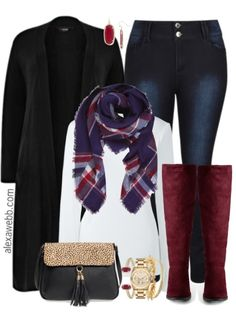 This plus size outfit is sure to keep you cozy on fall weekends.  It is on-trend with a plus size maxi length cardigan, plaid blanket scarf and plus size burgundy boots.  Love those boots! Shop the Look Plus Size Cardigan (less $ similar) Earrings Scarf Plus Size T-Shirt Handbag or here Plus Size Jeans or here or here (my favorite… Read More