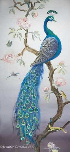 Blue Peacock from mural by Jennifer Carasco