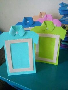 dıy father's day card ıdeas and gift pairings « funnycrafts Make them look like Girl Scout vests dia do pai us wp-content uploads 2016 06 So cute frame for fathers day Kids Crafts, Diy And Crafts, Paper Crafts, Diy Birthday Cards For Dad, Photo Frame Crafts, Father's Day Diy, Fathers Day Crafts, Fathers Day Ideas, Art N Craft