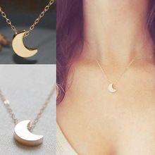 Minimalista Crescent Moon Colar Pingente de Prata Cadeia Sólida de Ouro Longo Colar de Jóias Mulheres(China (Mainland))