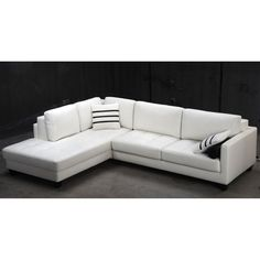 Tosh Furniture Modern White Leather Sectional Sofa